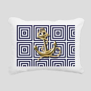 gold anchor blue geometr Rectangular Canvas Pillow