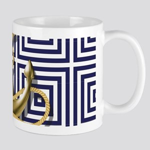gold anchor blue geometric pattern Mugs