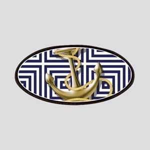 gold anchor blue geometric pattern Patch