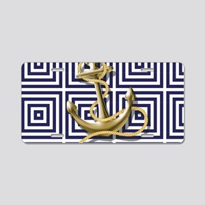 gold anchor blue geometric Aluminum License Plate