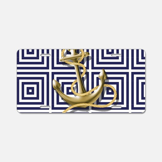 gold anchor blue geometric Aluminum License Plate
