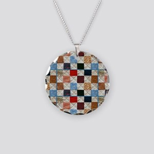Colorful quilt pattern Necklace Circle Charm