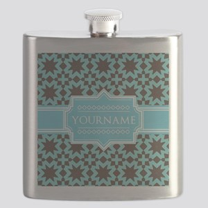 Turquoise and Brown Pattern Personalized Flask