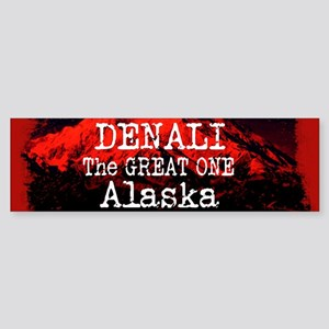 DENALI MOUNTAIN ALASKA RED Bumper Sticker