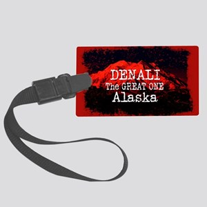 DENALI MOUNTAIN ALASKA RED Large Luggage Tag
