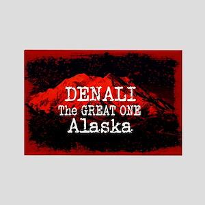 DENALI MOUNTAIN ALASKA RED Magnets