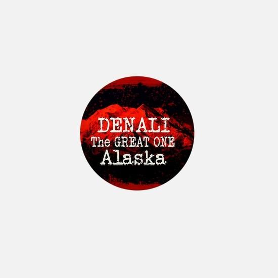 DENALI MOUNTAIN ALASKA RED Mini Button