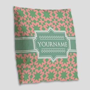 Pink Apple Green Pattern Pers Burlap Throw Pillow