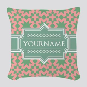 Pink Apple Green Pattern Pers Woven Throw Pillow
