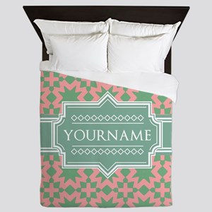 Pink Apple Green Pattern Personalized Queen Duvet