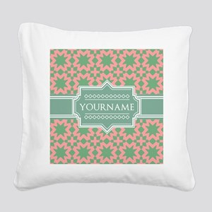 Pink Apple Green Pattern Per Square Canvas Pillow