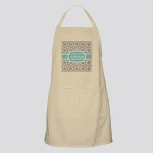 Pink Apple Green Pattern Personalized Apron