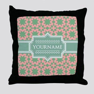 Pink Apple Green Pattern Personalize Throw Pillow