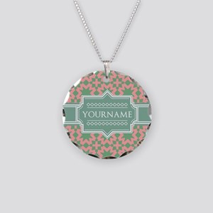 Pink Apple Green Pattern Pe Necklace Circle Charm