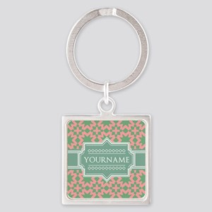 Pink Apple Green Pattern Personal Square Keychain