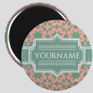 Pink Apple Green Pattern Personalized Magnet
