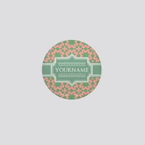 Pink Apple Green Pattern Personalized Mini Button