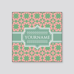 "Pink Apple Green Pattern P Square Sticker 3"" x 3"""