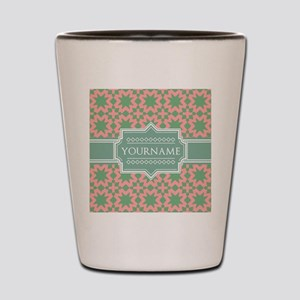 Pink Apple Green Pattern Personalized Shot Glass