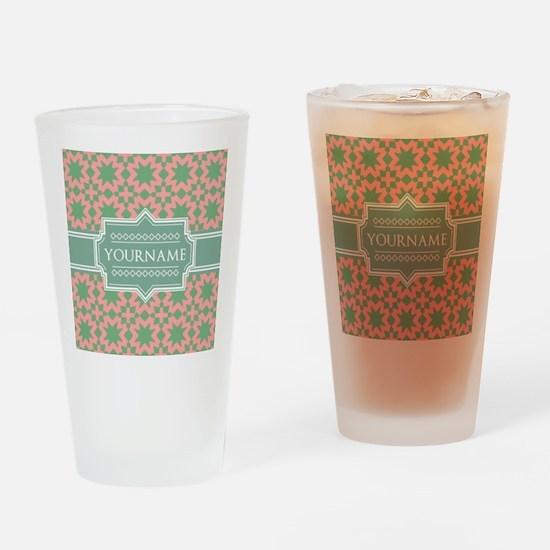 Pink Apple Green Pattern Personali Drinking Glass