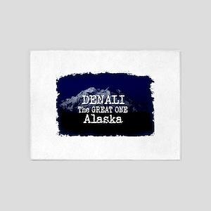 DENALI MOUNTAIN ALASKA BLUE 5'x7'Area Rug