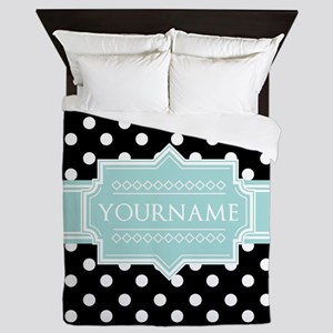Black and Mint Polka Dots Personalized Queen Duvet