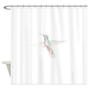 Green Purple Bird Hummingbird Shower Curtains