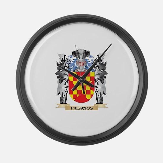 Palacios Coat of Arms - Family Cr Large Wall Clock