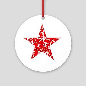 Red Star Vintage Round Ornament