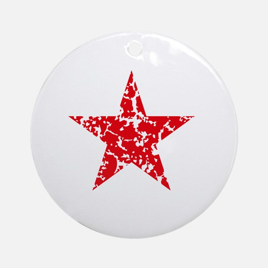 Red Star Vintage Round Ornament