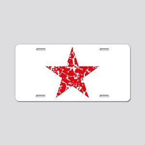 Red Star Vintage Aluminum License Plate