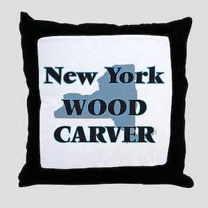 New York Wood Carver Throw Pillow