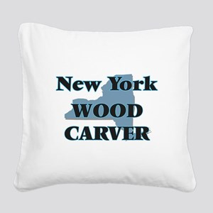 New York Wood Carver Square Canvas Pillow
