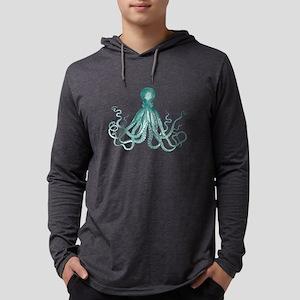 Dark Teal Octopus Mens Hooded Shirt