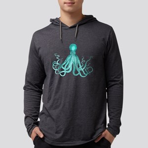 Blue/Green Octopus Mens Hooded Shirt