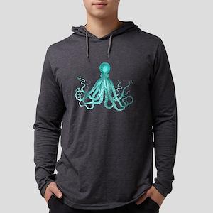 Blue/Green Octopus Mens Hooded Shirt