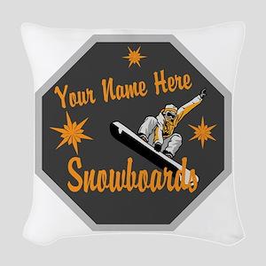 Snowboard Shop Woven Throw Pillow