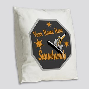 Snowboard Shop Burlap Throw Pillow