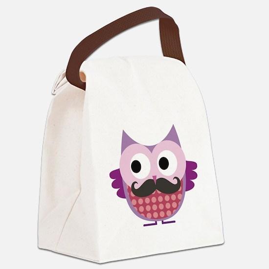 Cute Owl mustache Canvas Lunch Bag