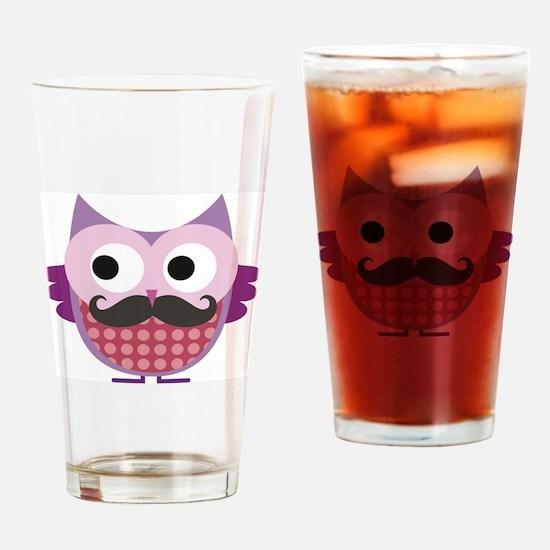 Cute Owl mustache Drinking Glass