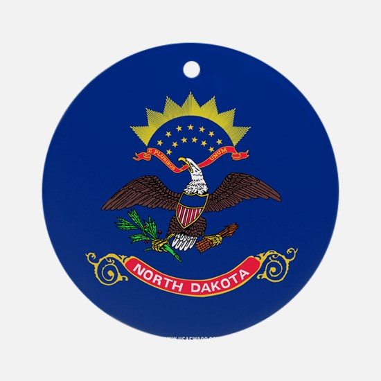 North Dakota State Flag Round Ornament