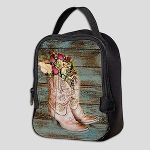primitive barnwood cowboy boots Neoprene Lunch Bag