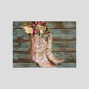 primitive barnwood cowboy boots 5'x7'Area Rug