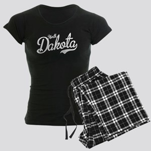 North Dakota Script White Women's Dark Pajamas