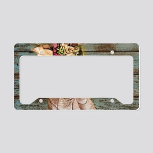 primitive barnwood cowboy boo License Plate Holder