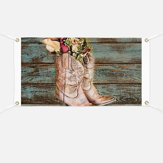primitive barnwood cowboy boots Banner