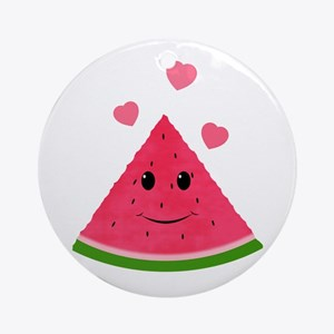 Cartoon Watermelon With Red Hearts Round Ornament