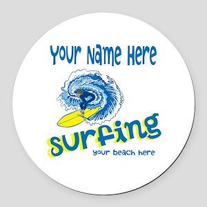 Surfing Round Car Magnet