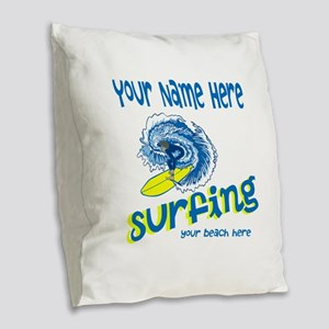 Surfing Burlap Throw Pillow