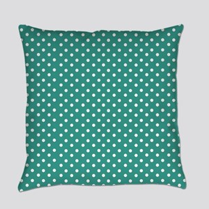 Jade and White Polka Dot Everyday Pillow